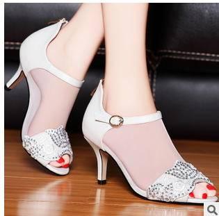 高跟细跟性感网纱鱼嘴女鞋子2015春季新款时装凉鞋包邮