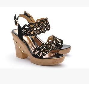 水钻淑女鞋镂空坡跟凉鞋女夏季新款女鞋包邮