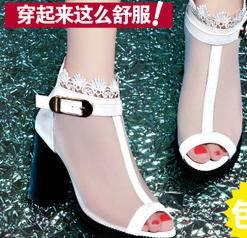 高跟粗跟性感网纱鱼嘴女鞋2015夏季新款时装凉鞋包邮