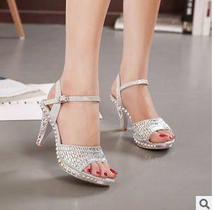 2015新款夏季亮片一字带水钻鱼嘴细跟高跟女鞋欧美时尚外贸女凉鞋美高