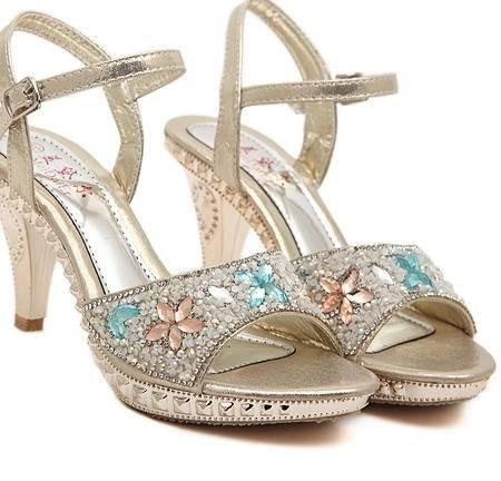 性感细跟一字带水钻防水台罗马高跟鞋欧洲站2015夏季新款女凉鞋美高