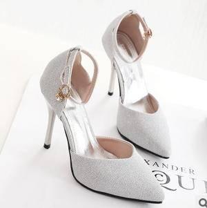 女镂空一字带细跟超高跟鞋浅口尖头鞋女凉鞋春夏韩国明星同款单鞋美高