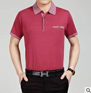 商务纯色针织t恤衫桑蚕丝短袖男t恤夏装新款正品男式短袖T恤永盛泰