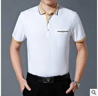 翻领宽松双丝光棉商务男装t恤衫15夏季新款中年男式纯色t恤 永盛泰