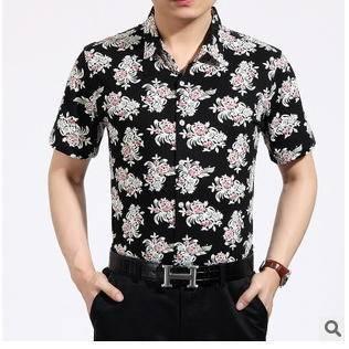 韩版潮流男式印花免烫衬衫男衬衫 时尚修身短袖男衬衫永盛泰
