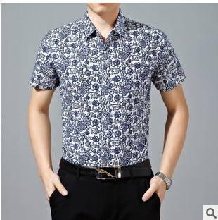 新款休闲男士短袖印花衬衣男夏装男式短袖衬衫 永盛泰