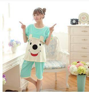 月子服套装纯棉哺乳衣产后外穿喂奶加大卡通女士夏季短袖睡衣旭宏睡衣