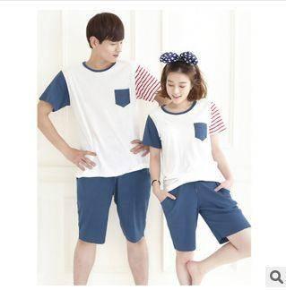 夏季套头睡条纹适韩版情侣短裤居家服两件套热销纯棉短袖旭宏睡衣
