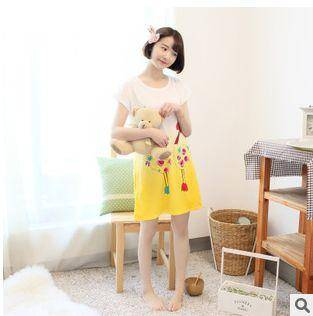 女士休闲宽松可爱睡衣家居服新款印花夏季短袖牛奶丝睡裙旭宏睡衣