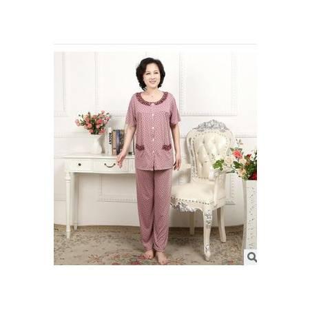长裤舒适休闲居家中年睡衣新款加肥加大女士夏季短袖全棉睡衣旭宏睡衣