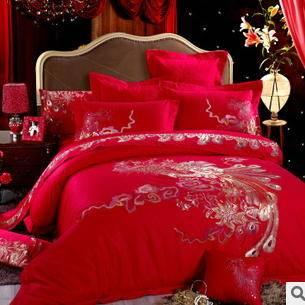 全棉大红十件套婚庆床品中国风多件套婚庆绣花四件套幻桃包邮