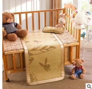 植物纤维亚麻草竹炭宝宝婴儿床凉席二件套幻桃包邮