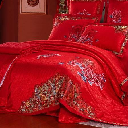 婚庆四件套 大红蕾丝结婚床上用品婚庆床上用品四件套幻桃包邮