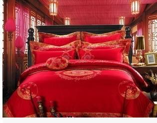 全棉绣花十件套结婚床上用品婚礼送礼大红婚庆四件套多件套幻桃包邮