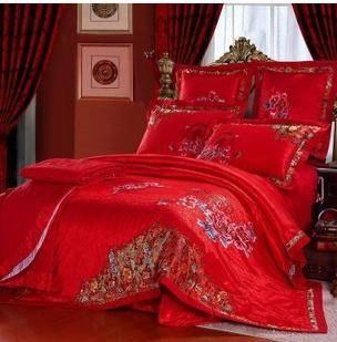全棉床上用品大红结婚十件套爆款家纺四件套正品婚庆四件套幻桃包邮
