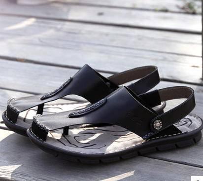 人字拖休闲包头露趾凉皮鞋 夏季青年沙滩鞋男凉鞋真皮拖鞋包邮