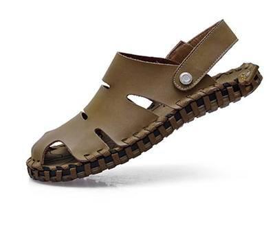 手工牛皮两用拖鞋沙滩鞋2015新款夏真皮男凉鞋包邮