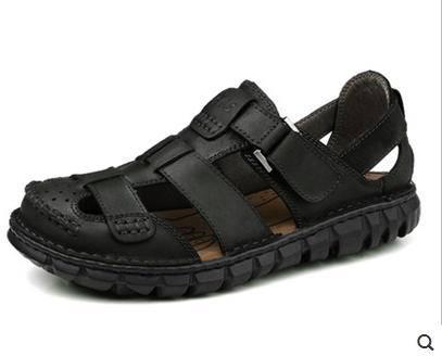 2015新品透气潮洞洞情侣休闲鞋防滑夏季沙滩鞋真皮男凉鞋包邮
