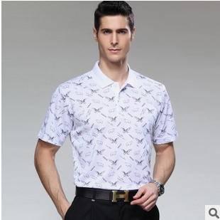 翻领印花珠地棉T恤衫 青年宽松体恤新款夏装男士短袖T恤祥盛