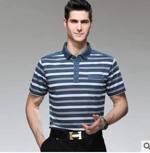 宽松型中老年体恤真口袋男夏季新款男式短袖T恤 翻领条纹棉T恤衫祥盛