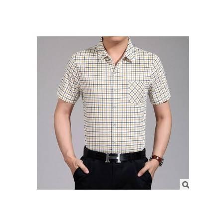 翻领印花条纹衬衫男式短袖 口袋夏季衬衣新款男士短袖衬衫祥盛
