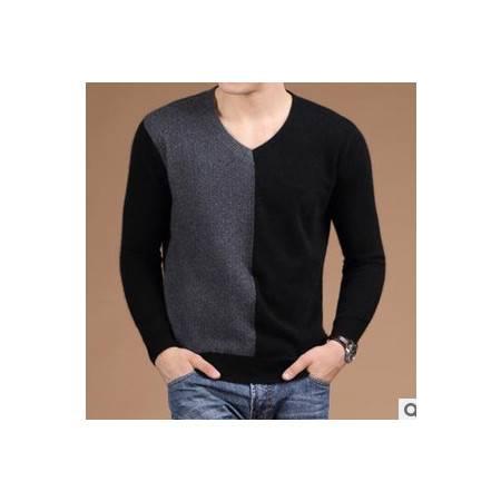 V领纯羊绒针织衫 拼色秋冬保暖打底衫新款男士长袖毛衣 祥盛包邮
