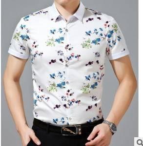 时尚印花衬衫男短袖 修身夏装丝光棉衬衣新款男士短袖衬衫祥盛