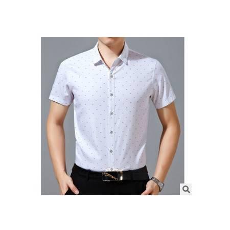 夏季印花纯棉衬衫男短袖 青年鱼骨头衬衣新款男士短袖衬衫祥盛