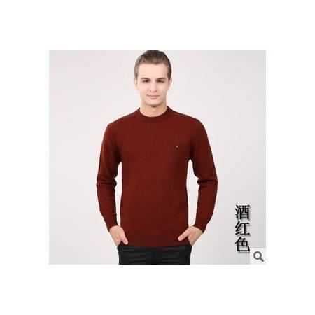 秋冬保暖针织衫 圆领纯色100%纯羊毛衫新款男士长袖毛衣 祥盛包邮