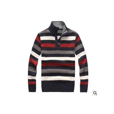 立领加厚羊毛衫 条纹粗纺棉线衫新款冬装男士长袖毛衣 祥盛包邮