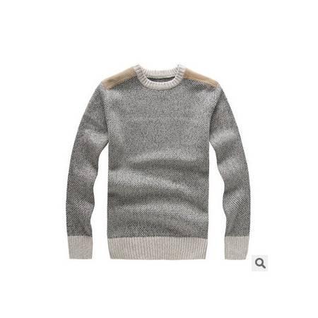 圆领纯色羊毛针织衫 贴布冬装保暖棉线衫新款男士长袖毛衣祥盛包邮