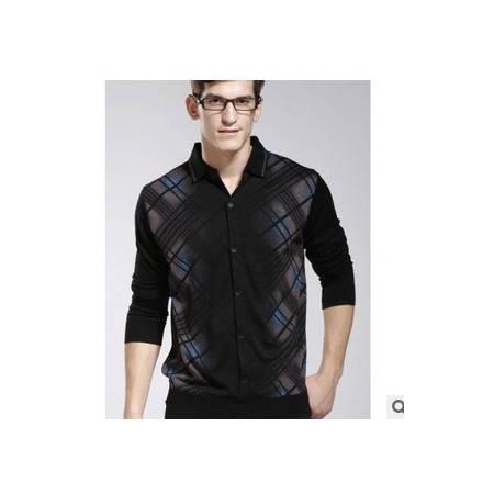 条纹印花时尚韩版羊毛衫 加绒冬装新款男士长袖毛衣祥盛