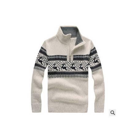 立领拉链加厚羊毛衫 保暖打底衫新款冬装男士长袖毛线衣 祥盛包邮