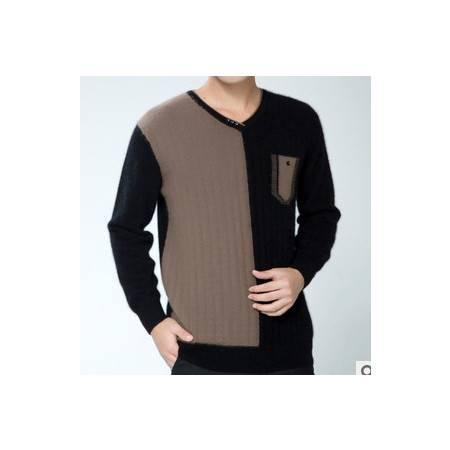 V领拼色纯貂绒衫 男100%貂绒保暖针织衫新款男士长袖毛衣祥盛包邮