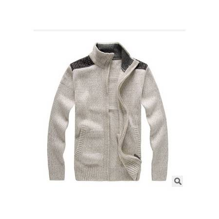 立领拉链加厚针织衫 粗纺贴布开衫外套毛衣新款男长袖羊毛衫 祥盛包邮