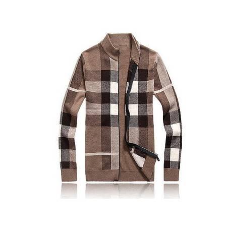 中年立领开衫外套保暖羊绒衫新品男装格子羊毛 长袖针织衫男祥盛包邮