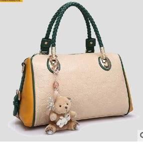 毛绒熊吊饰两件套子母包新款枕头包手提单肩斜挎女包新安雅