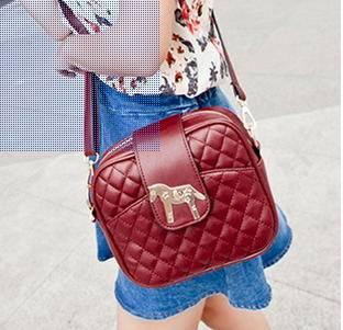 时尚潮流单肩斜跨小包2014韩版夏季新款小马包菱格女包新安雅