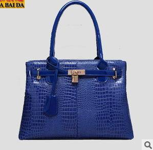 品牌女包铂金包包新款欧美大牌鳄鱼纹手提女包气质商务包皮 新安雅