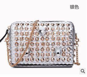 时尚镶钻单肩斜挎小包包女士夏季韩版链条包 华大