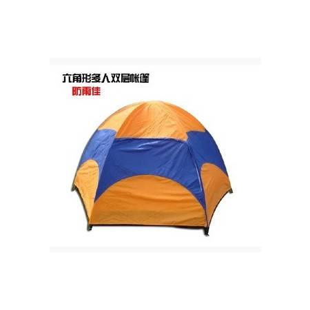 户外帐篷 露营帐篷多人双层六角压胶帐篷拓步