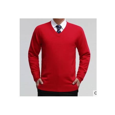 中年爸爸装纯色针织羊毛衫男式装毛衣秋冬新款V领男士羊绒衫 莫菲