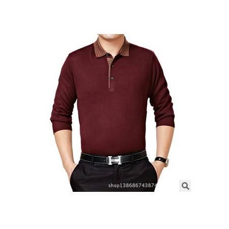 中年纯色针织长袖翻领t恤男 商务品牌男式T恤衫春秋新款男士T恤 莫菲