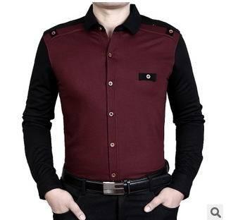 中年商务薄款纯色衬衫男 男式长袖衬衣春秋新款男士长袖衬衫 莫菲