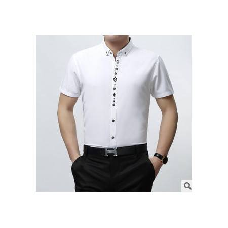 中年商务男装立领纯色短袖衬衣男春夏新款纯棉男士衬衫 莫菲
