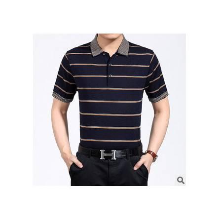 中老年宽松条纹桑蚕丝男士短袖T恤 商务男装体恤夏季新款男式T恤 莫菲