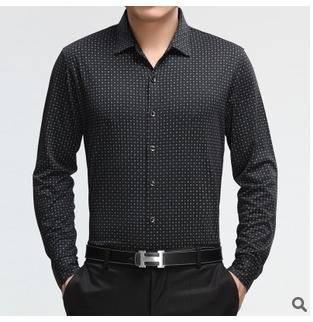 中年休闲印花针织衬衣男 男式长袖衬衫春秋新款男士长袖衬衫莫菲