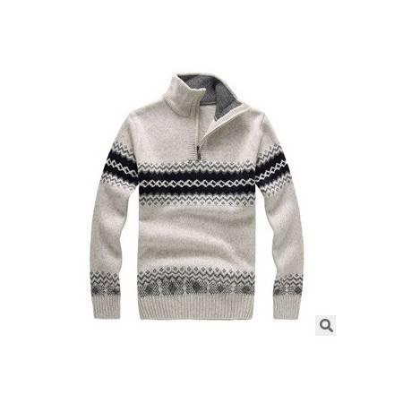 拉链立领加厚针织粗纺棉衣男 时尚青少年羊毛衫冬季男士长袖毛衣 莫菲包邮