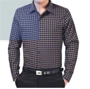 中年商务男装翻领格子宽松棉衬衣春秋新款男士长袖衬衫莫菲