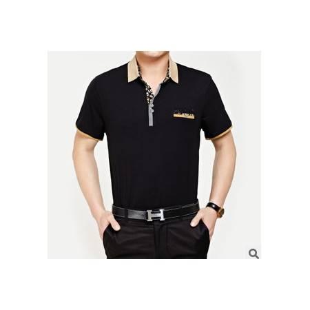 中年休闲翻领全棉短袖T恤男 男装体恤新款男士短袖t恤莫菲